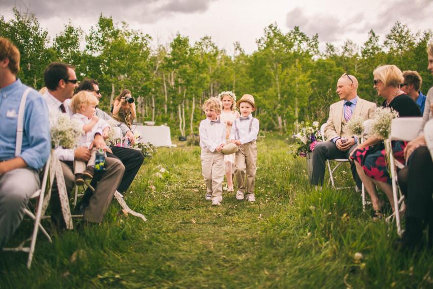 023_Crested Butte Wedding Photographer Secret Stash Woods Walk Ceremony Jamie Blue Bird Events Boho Epic Stars