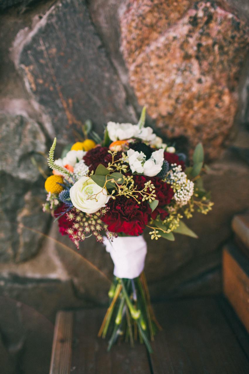 030 Evergreen Lake House Wedding Photographer beautiful bouquet beet and yarrow