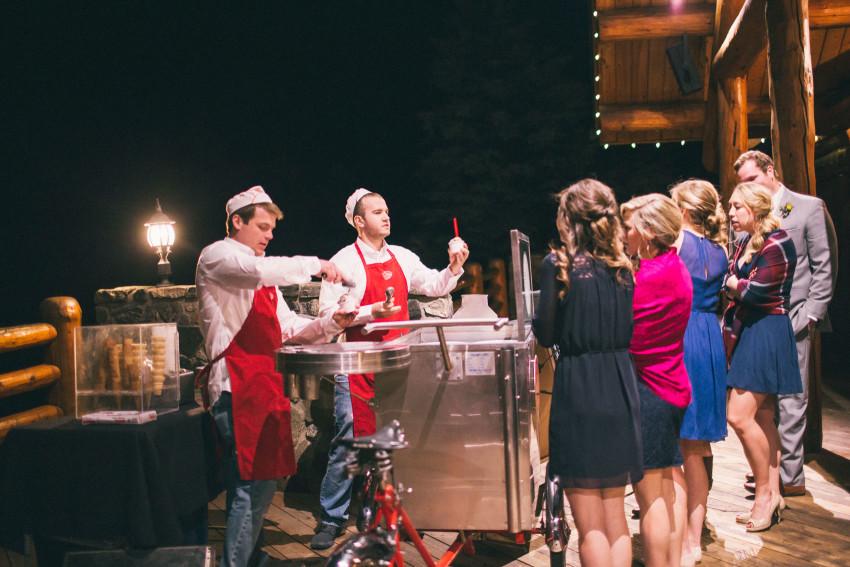 063 Evergreen Lake House Wedding Photographer little man ice cream wedding guests
