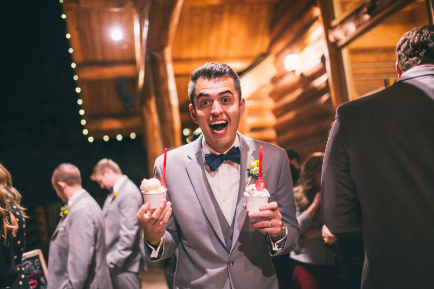 065 Evergreen Lake House Wedding Photographer guest excited for little man ice cream