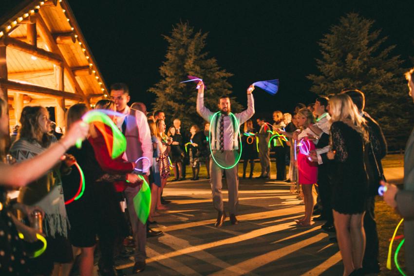 078 Evergreen Lake House Wedding Photographer alternative to sparklers glow sticks