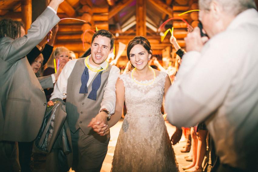 079 Evergreen Lake House Wedding Photographer glow stick send off alternative to sparklers