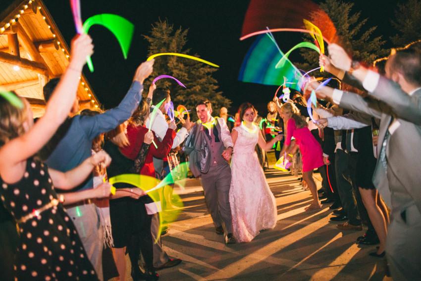 080 Evergreen Lake House Wedding Photographer glow stick send off alternative to sparklers