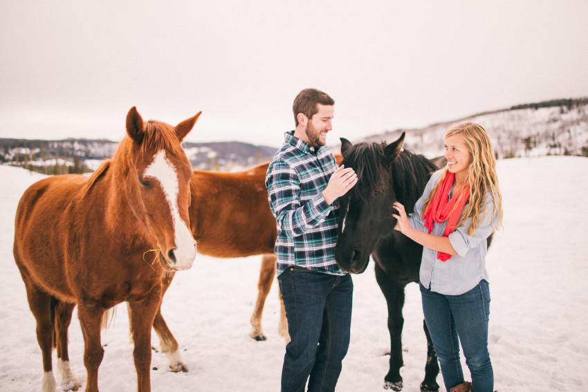 Kori Dan Engagement Steamboat Springs Vista Verde Ranch Horses Barn Snow Winter-006