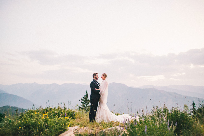 001 Aspen CO Mountain Top Wedding Epic Landscape Summit Bride Groom Portrait Tiffany Tom