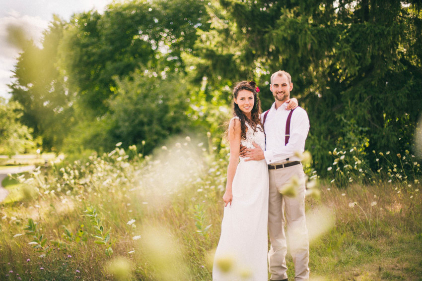 001 Mukwonago Milwaukee WI Barn DIY Laid-back Tall Grass Bride Groom Portrait Country Summer Fun Christian Thursday Weekday Danny Andrea