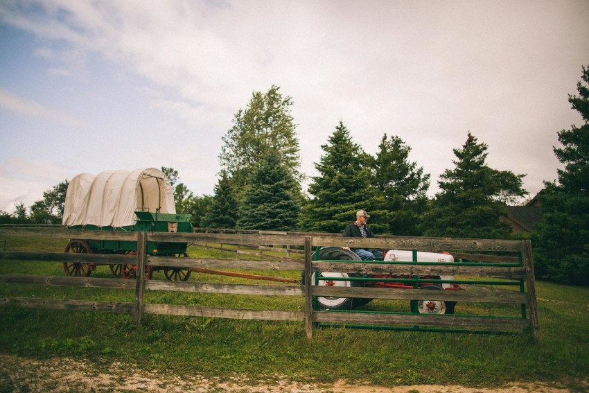 006 Mukwonago Milwaukee WI Barn DIY Laid-back Country Horses Tractor Wagon Getting Ready Wedding Day Danny Andrea