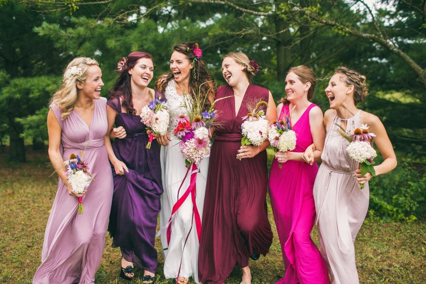 022 Mukwonago Milwaukee WI Bridemaids Berry Color Dresses Laughing Organic Fun Danny Andrea