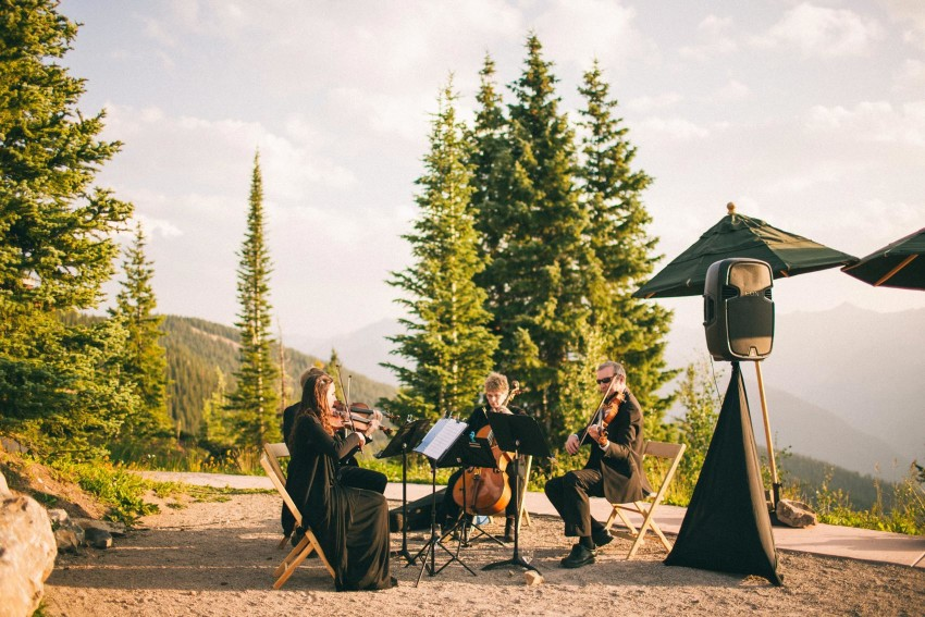 023 Aspen CO Mountain Top Luxury Wedding Ceremony Site Little Nell Classical Quartet