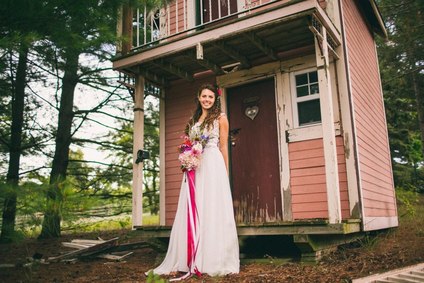 023 Mukwonago Milwaukee WI Bride In Front of Childhood Play House Danny Andrea