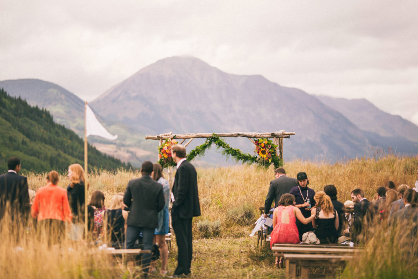 026 Crested Butte CO Private Ranch Wedding Local Foodie Stormy Rain Unique Initimate Burning of Sage Ceremony Barn Live Band Marquee Lights Stars Night Sky