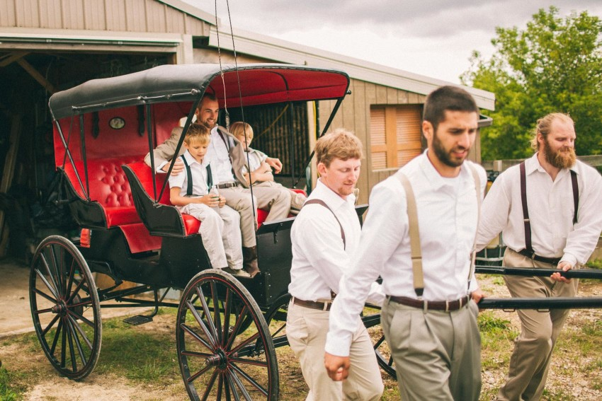 029 Mukwonago Milwaukee WI Barn DIY Laid-back Country Horses Tractor Danny Groomsmen Goofing Off Pulling Carriage Danny Andrea