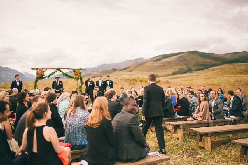 033 Crested Butte CO Private Ranch Wedding Local Foodie Stormy Rain Unique Initimate Burning of Sage Ceremony Barn Live Band Marquee Lights Stars Night Sky