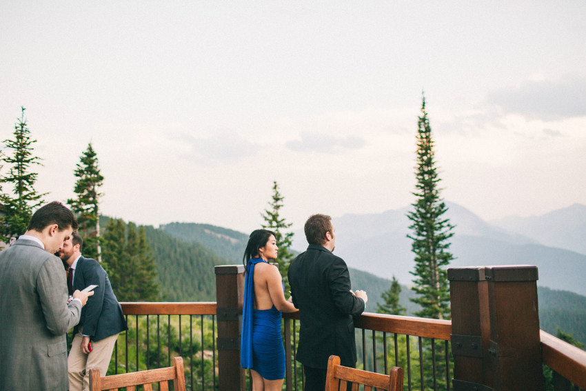 035 Aspen CO Mountain Top Luxury Wedding Guest Enjoying Aspen Landscape