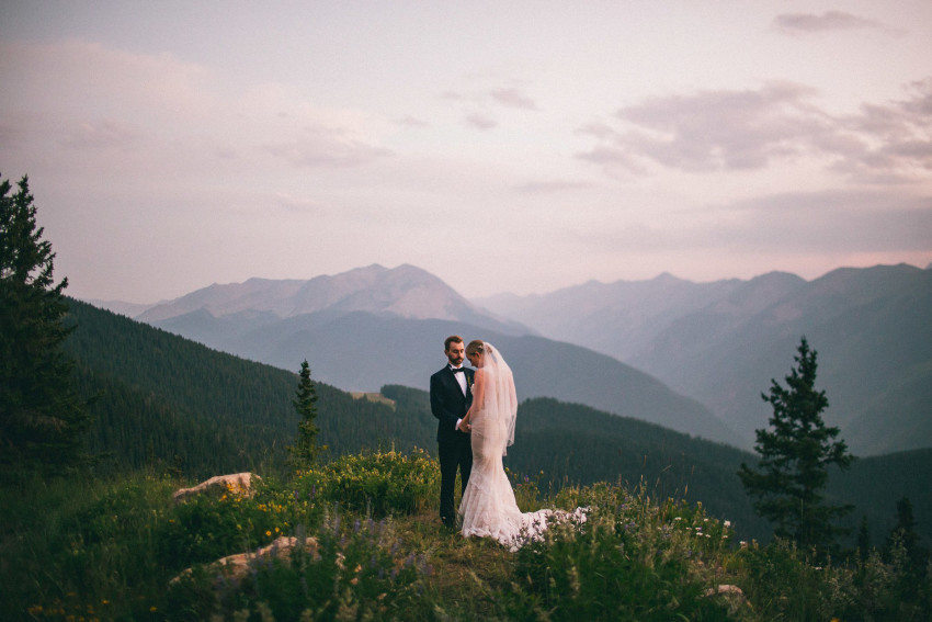 048 Aspen CO Mountain Top Luxury Wedding Inbal Dror Dress Intimate Couples Bride Groom Portrait Tiffany Tom