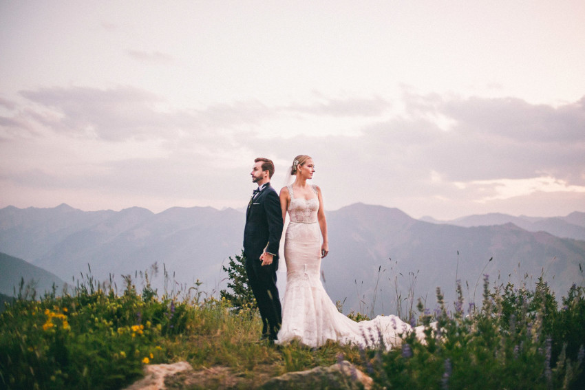 050 Aspen CO Mountain Top Luxury Wedding Inbal Dror Dress Modern Couples Bride Groom Portrait Tiffany Tom
