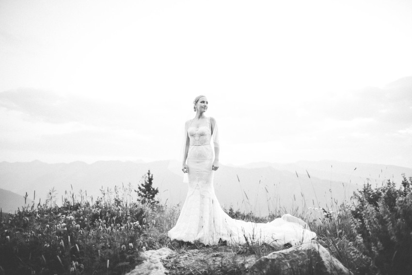052 Aspen CO Mountain Top Luxury Wedding Inbal Dror Dress Bridal Portrait Tiffany Tom