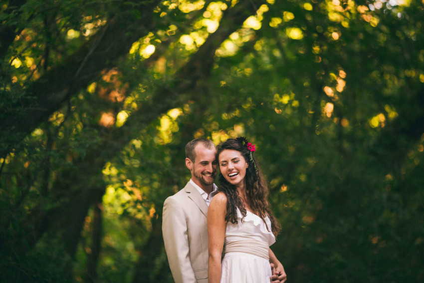 073 Mukwonago Milwaukee WI Barn DIY Laid-back In the Woods Bride Groom Portrait Long Lens Laughing Happy Couple Danny Andrea