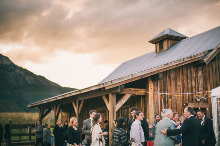 081 Crested Butte CO Private Ranch Wedding Local Foodie Stormy Rain Unique Initimate Burning of Sage Ceremony Barn Live Band Marquee Lights Stars Night Sky